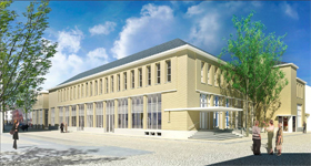 Start verbouwing voormalig postkantoor te Heerlen.